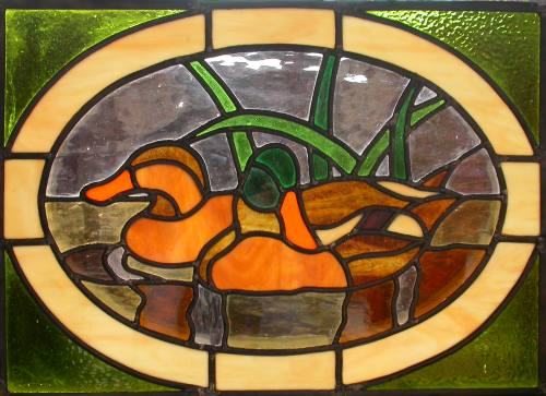 Two ducks.My second stained glass panel